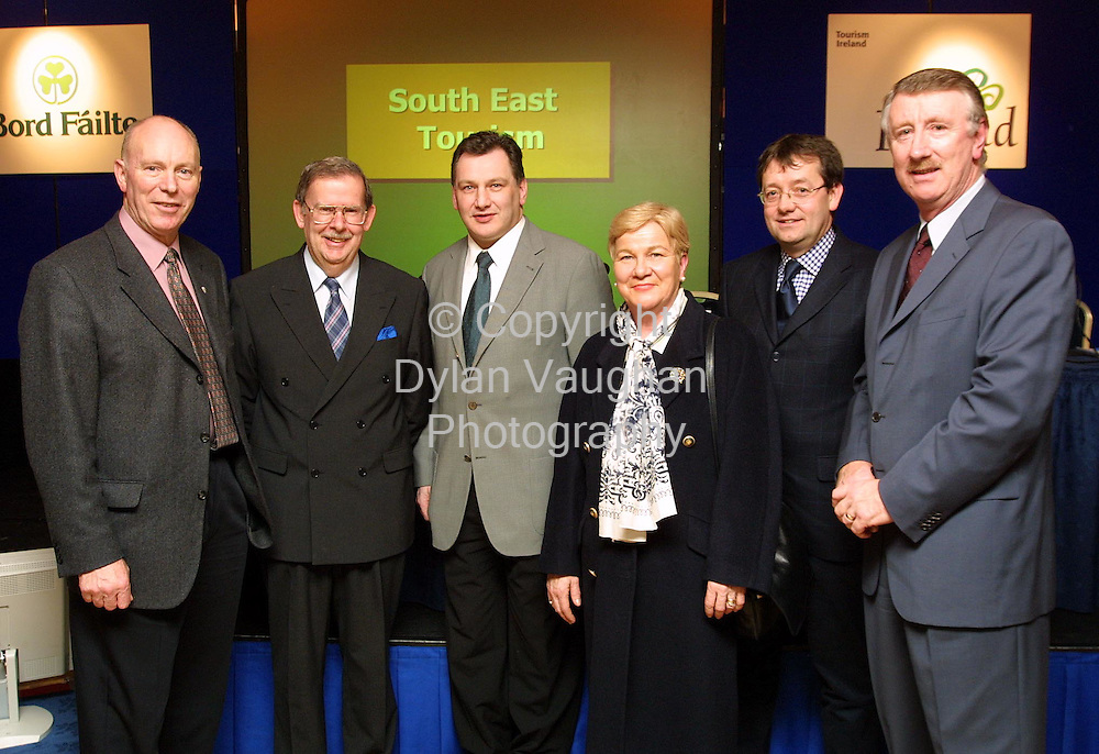 Pictured at the 2002 Regional Tourism Industry Briefing for the South East at the Newpark Hotel in Kilkenny were from left  Denis Fahey Tipperary County Tourism Treasurer, Niall Reddy acting Chief Executive Bord Failte, Cllr Pat Crotty Chairman South East Tourism, Peig Butler Carrigeen Castle Cahir, Eamon Long Tipperary County Tourism Committee and Joe Palmer Chief Executive South East Tourism..Picture Dylan Vaughan