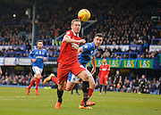 Leyton Orient Midfielder Kevin Nolan challenges with Portsmouth defender Enda Stevens during the Sky Bet League 2 match between Portsmouth and Leyton Orient at Fratton Park, Portsmouth, England on 6 February 2016. Photo by Adam Rivers.
