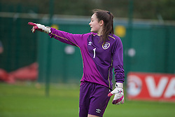 NEWPORT, WALES - Friday, April 1, 2016: Republic of Ireland's goalkeeper Rachael Kelly in action against Wales during Day 1 of the Bob Docherty International Tournament 2016 at Dragon Park. (Pic by David Rawcliffe/Propaganda)