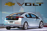 The 2010 General Motors Chevrolet Volt production model displayed at the 2009 NAIAS, North American International Auto Show, held in Detroit Michigan.