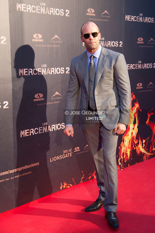 Bristish Actor Jason Statham attends 'The Expendables 2' premiere at Callao Cinema in Madrid