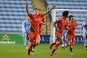 Wycombe Wanderers defender Dan Scarr (28) scores a goal 2-1 and celebrates during the EFL Sky Bet League 2 match between Coventry City and Wycombe Wanderers at the Ricoh Arena, Coventry, England on 22 December 2017. Photo by Alan Franklin.