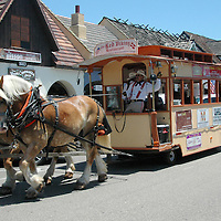 """The Solvang Trolley, also known as The Honen (""""The Hen"""" in Danish) trots down Copenhagen drive on Thursday, June 23, 2011."""