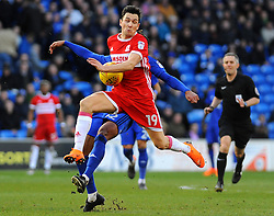 Stewart Downing of Middlesbrough and Armand Traore of Cardiff City compete for the highball - Mandatory by-line: Nizaam Jones/JMP - 17/02/2018 -  FOOTBALL - Cardiff City Stadium - Cardiff, Wales -  Cardiff City v Middlesbrough - Sky Bet Championship