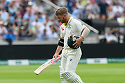 Wicket - David Warner of Australia looks dejected as he walks back to the pavilion after being dismissed by Stuart Broad of England during the International Test Match 2019 match between England and Australia at Edgbaston, Birmingham, United Kingdom on 3 August 2019.