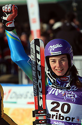 Third placed after seven run Kathrin Hoelzl of Germany, First placed after second run Tina Maze of Slovenia and second placed Denise Karbon at Maribor women giant slalom race of Audi FIS Ski World Cup 2008-09, in Maribor, Slovenia, on January 10, 2009. (Photo by Vid Ponikvar / Sportida)