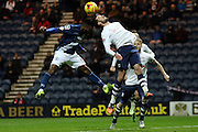 Preston North End Defender Greg Cunningham heads clear during the Sky Bet Championship match between Preston North End and Birmingham City at Deepdale, Preston, England on 15 December 2015. Photo by Pete Burns.