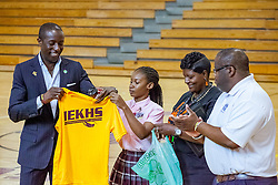 Milt Newton receives a special gift after his talk at Ivanna Eudora Kean High School in which he shared details about growing up in the Virgin Islands and encouraged students to have hope and focus in pursuing their dreams.  St. Thomas, VI.  27 May 2016.  © Aisha-Zakiya Boyd