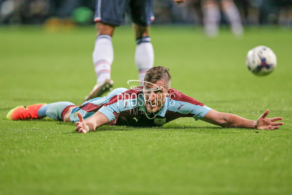 Stephen Ward (Burnley) appeals to the assistant referee for a foul, but it is not given during the Pre-Season Friendly match between Bolton Wanderers and Burnley at the Macron Stadium, Bolton, England on 26 July 2016. Photo by Mark P Doherty.