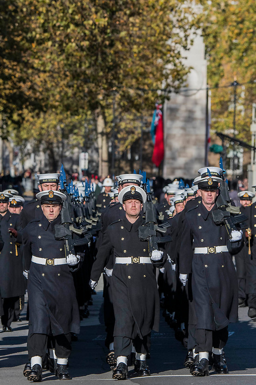 The Royal Navy leave Whitehall - Remembrance Sunday and Armistice Day commemorations fall on the same day, remembering the fallen of all conflicts but particularly the centenary of the end of World War One.