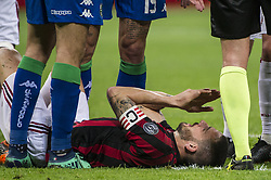 April 8, 2018 - Milan, Milan, Italy - 8th April 2018, San Siro, Milan, Italy; Serie A football, AC Milan versus US Sassuolo; Leonardo Bonucci of AC Milan injured (Credit Image: © Gaetano Piazzolla/Pacific Press via ZUMA Wire)