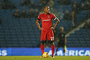 Leyton Orient striker Jay Simpson (27) during the EFL Trophy Southern Group G match between U23 Brighton and Hove Albion and Leyton Orient at the American Express Community Stadium, Brighton and Hove, England on 8 November 2016.