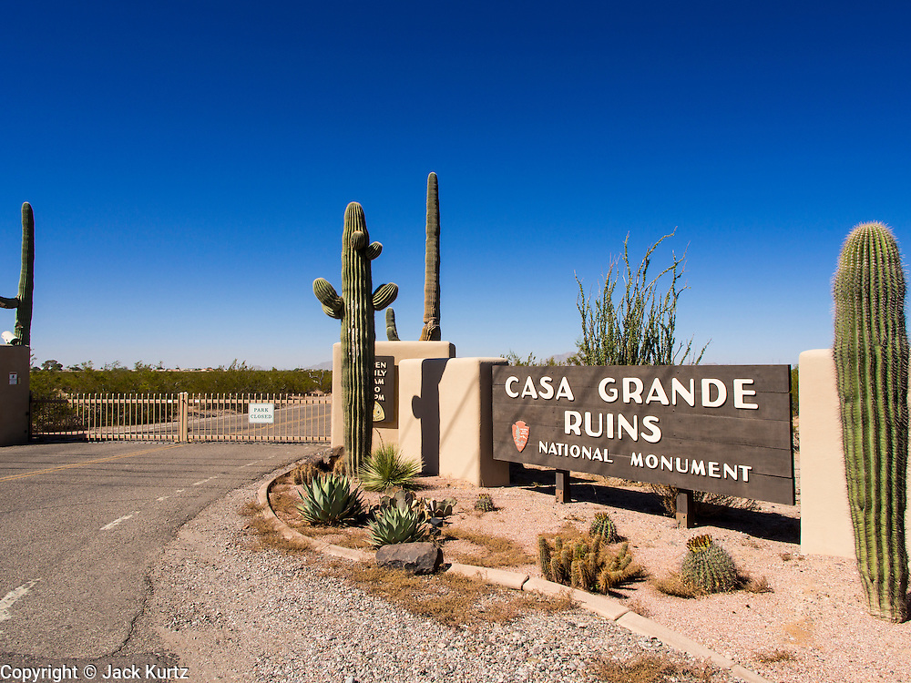 01 OCTOBER 2013 - CASA GRANDE, AZ: The entrance to the Casa Grande Ruins in Casa Grande, AZ. The ruins are a US national monument and were closed Tuesday because of the partial shutdown of the US government. All national monuments and national parks were closed Tuesday. The US government closed most non-essential federal services Tuesday. The shutdown is be the first in the US in 17 years. More than 700,000 federal government workers could be sent home on unpaid leave, with no guarantee of back pay once the deadlock is over.    PHOTO BY JACK KURTZ