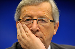 Jean-Claude Juncker, Luxembourg's prime minister, and president of Eurogroup, listens during a news conference following the Eurogroup meeting in Brussels, Monday Jan. 18, 2009. (Photo © Jock Fistick)