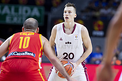 September 17, 2018 - Madrid, Spain - Joaquin Colom of Spain and Kaspars Vecvagars of Latvia during the FIBA Basketball World Cup Qualifier match Spain against Latvia at Wizink Center in Madrid, Spain. September 17, 2018. (Credit Image: © Coolmedia/NurPhoto/ZUMA Press)