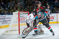 KELOWNA, CANADA - NOVEMBER 6: Henrik Nyberg #21 of the Kelowna Rockets looks for the pass against the Red Deer Rebels on NOVEMBER 6, 2013 at Prospera Place in Kelowna, British Columbia, Canada.   (Photo by Marissa Baecker/Shoot the Breeze)  ***  Local Caption  ***