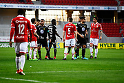 KALMAR, SWEDEN - APRIL 18: Players of both Kalmar FF and of Ostersunds FK discussing after a call by the referee during the Allsvenskan match between Kalmar FF and Ostersunds FK at Guldfageln Arena on April 18, 2018 in Kalmar, Sweden. Photo by Jonas Gustafsson/Ombrello ***BETALBILD***