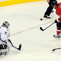 26 December 2007:  Tampa Bay Lightning goalie Karri Ramo (31) stops a third period shot taken by Washington Capitals center Brooks Laich (21) at the Verizon Center in Washington, D.C.  The Capitals defeated the Lightning 3-2.