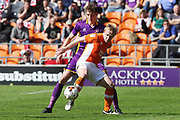 Will Boyle and Mark Cullen during the EFL Sky Bet League 2 match between Blackpool and Cheltenham Town at Bloomfield Road, Blackpool, England on 22 April 2017. Photo by Antony Thompson.