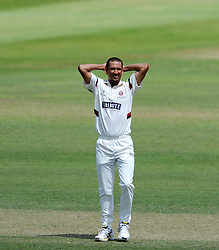Dejection for Somerset's Alfonso Thomas - Photo mandatory by-line: Harry Trump/JMP - Mobile: 07966 386802 - 07/07/15 - SPORT - CRICKET - LVCC - County Championship Division One - Somerset v Sussex- Day Three - The County Ground, Taunton, England.