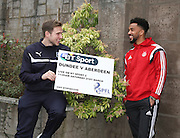Dundee's Greg Stewart and Aberdeen's Shay Logan - Dundee v Aberdeen pre-match press <br /> <br />  - &copy; David Young - www.davidyoungphoto.co.uk - email: davidyoungphoto@gmail.com