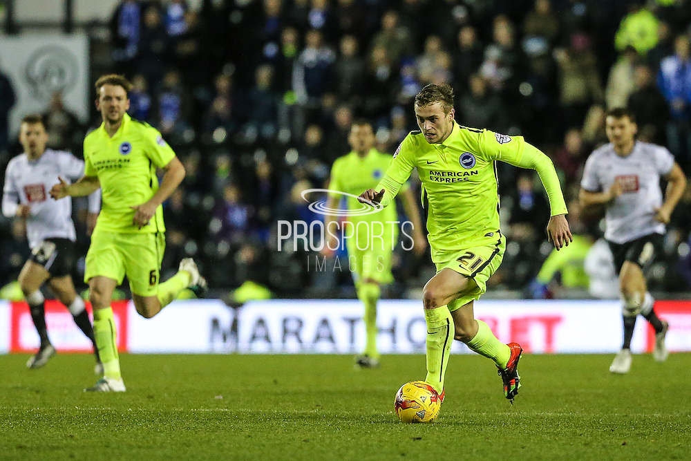 Brighton's James Wilson during the Sky Bet Championship match between Derby County and Brighton and Hove Albion at the iPro Stadium, Derby, England on 12 December 2015. Photo by Shane Healey.