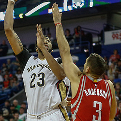 Mar 17, 2017; New Orleans, LA, USA; New Orleans Pelicans forward Anthony Davis (23) shoots over Houston Rockets forward Ryan Anderson (3) during the second half of a game at the Smoothie King Center. The Pelicans defeated the Rockets 128-112.  Mandatory Credit: Derick E. Hingle-USA TODAY Sports