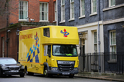 © Licensed to London News Pictures. 20/02/2020. London, UK. A removal lorry is parked outside Number 11 Downing Street. Former Chancellor of The Exchequer SAJID JAVID resigned from his role during last week Cabinet reshuffle and was replaced by Conservative MP for Richmond, Yorks RISHI SUNAK. Photo credit: Dinendra Haria/LNP