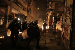 Leftist groups and anti authoritarians clash with riot police in Exarchia area of central Athens, after a demonstration to mark the 8th anniversary of the murder of Alexandros Grigoropoulos who was shot dead by police officer Epaminondas Korkoneas in 2008. Athens, Greece, December 6, 2016. Photo by Panayotis Tzamaros/ABACAPRESS.COM