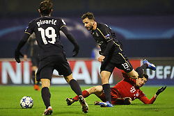 Josip Pivaric #19 of GNK Dinamo Zagreb and Goncalo Santos #13 of GNK Dinamo Zagreb vs Robert Lewandowski #9 of FC Bayern Munchen during football match between GNK Dinamo Zagreb and Bayern München in Group F of Group Stage of UEFA Champions League 2015/16, on December 9, 2015 in Stadium Maksimir, Zagreb, Croatia. Photo by Ziga Zupan / Sportida