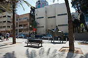 Israel, Tel Aviv, Independence Hall at 16 Rothschild Boulevard. In this Hall, David Ben-Gurion proclaimed the Independence of the state of Israel in 1948. This building was donated by Meir Dizengoff to the public. Dizengoff's statue in the foreground