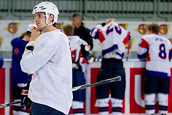 Blaz Gregorc during practice session of Slovenian National Ice Hockey team first time in Arena Stozice before 2012 IIHF World Championship DIV I Group A in Slovenia, on April 13, 2012, in Arena Stozice, Ljubljana, Slovenia. (Photo by Vid Ponikvar / Sportida.com)