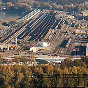 Train railyards / intermodal facility, North Kansas City, Missouri - view with long lens from top of Power and Light Building