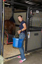 Ann Poels at the stables in the Kentucky Horse Park<br /> World Equestrian Games Lexington - Kentucky 2010<br /> © Dirk Caremans