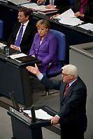 """19 MAY 2010, BERLIN/GERMANY:<br /> Guido Westerwelle (oben L), FDP, Bundesaussenminister, und Angela Merkel (oben R), CDU, Bundeskanzlerin, waehrend der Rede von Frank-Walter Steinmeier (unten L), SPD Fraktionsvorsitzender, Bundestagsdebatte zur Regierungserklaerung der Bundeskanzlerin """"Maßnahmen zur Stabilisierung des Euro"""", Plenum, Deutscher Bundestag<br /> IMAGE: 20100519-01-036<br /> KEYWORDS: speech"""