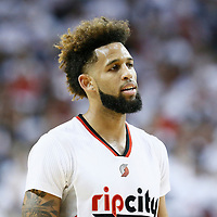 25 April 2016: Portland Trail Blazers guard Allen Crabbe (23) rests during the Portland Trail Blazers 98-84 victory over the Los Angeles Clippers, during Game Four of the Western Conference Quarterfinals of the NBA Playoffs at the Moda Center, Portland, Oregon, USA.