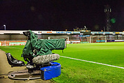 TV Camera's set up at The People's Pension Stadium ahead of the EFL Cup match between Crawley Town and Colchester United at The People's Pension Stadium, Crawley, England on 29 October 2019.