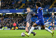 Sheffield Wednesday midfielder Barry Bannan (10) tackled by Chelsea Midfielder Willian during the The FA Cup fourth round match between Chelsea and Sheffield Wednesday at Stamford Bridge, London, England on 27 January 2019.