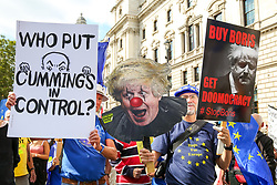 "© Licensed to London News Pictures. 03/009/2019. London, UK. Hundreds of anti-Brexit protesters take part in ""Stop The Coup"" demonstration in Westminster as MPs return to Westminster for a no deal  showdown that could result in a snap election. Photo credit: Dinendra Haria/LNP"