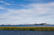 Lake Titicaca and Totora Reed beds at sunset in Bolivia.