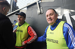 Till the next time<br /> Kiltimagh manager Pa McNicholas and Pat Clarke Moy Davitts at full time after the Intermediate final ended in a draw.<br /> Pic Conor McKeown