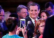 Republican presidential candidate Ted Cruz poses for a photo after he spoke to supporters at his election night party after Super Tuesday in Stafford, Texas, USA, 01 March 2016. Twelve states voted in the early primary on Super Tuesday across the country.