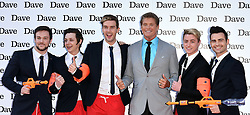 Collabro - Richaed Hadfield, Thomas Redgrave, Jamie Lambert, Matt Pagan and Michael Auger with David Hasselhoff  attend Hoff The Record TV Premiere at Empire Cinema, Leicester Square, London on Wednesday 20 May 2015