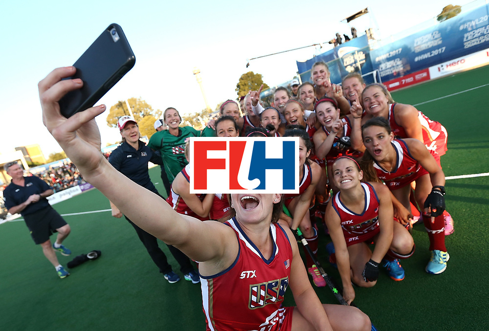JOHANNESBURG, SOUTH AFRICA - JULY 23:  United States of America players pose for a selfie after victory during day 9 of the FIH Hockey World League Women's Semi Finals final match between United States of America and Germany at Wits University on July 23, 2017 in Johannesburg, South Africa.  (Photo by Jan Kruger/Getty Images for FIH)