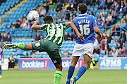 Gary Dicker and Lyle Taylor of AFC Wimbledon during the Sky Bet League 2 match between Carlisle United and AFC Wimbledon at Brunton Park, Carlisle, England on 22 August 2015. Photo by Stuart Butcher.