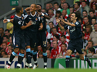 Photo: Paul Thomas.<br /> Liverpool v West Ham United. The Barclays Premiership. 26/08/2006.<br /> <br /> Bobby Zamora (2nd L) and West Ham celebrate his goal.