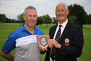 Eamon O'Connor Ulster Golf (R) present the runner-up plaque to Ray Irwan (Hilton Templepatrick) after the All Ireland Fourball Inter Club Ulster finals, Killymoon Golf Club, Cookstown, Tyrone, Northern Ireland. 25/08/2019.<br /> Picture Fran Caffrey / Golffile.ie<br /> <br /> All photo usage must carry mandatory copyright credit (© Golffile | Fran Caffrey)