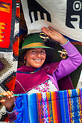 Saquisili Market, Salasaca Indian, Expert Weavers Known For Their Exquisite Tapestries, Specialize In Andean Textile Art, Saquisili, Cotopaxi Province, Ecuador, Andean Native American