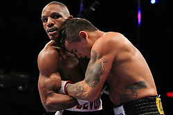 Feb 25; St. Louis, MO, USA; Marcos Maidana and Devon Alexander during their HBO Boxing After Dark main event at the Scottrade Center in St. Louis.