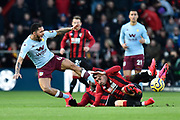 Caption correction - Douglas Luiz (6) of Aston Villa is tackled by Diego Rico (21) of AFC Bournemouth during the Premier League match between Bournemouth and Aston Villa at the Vitality Stadium, Bournemouth, England on 1 February 2020.
